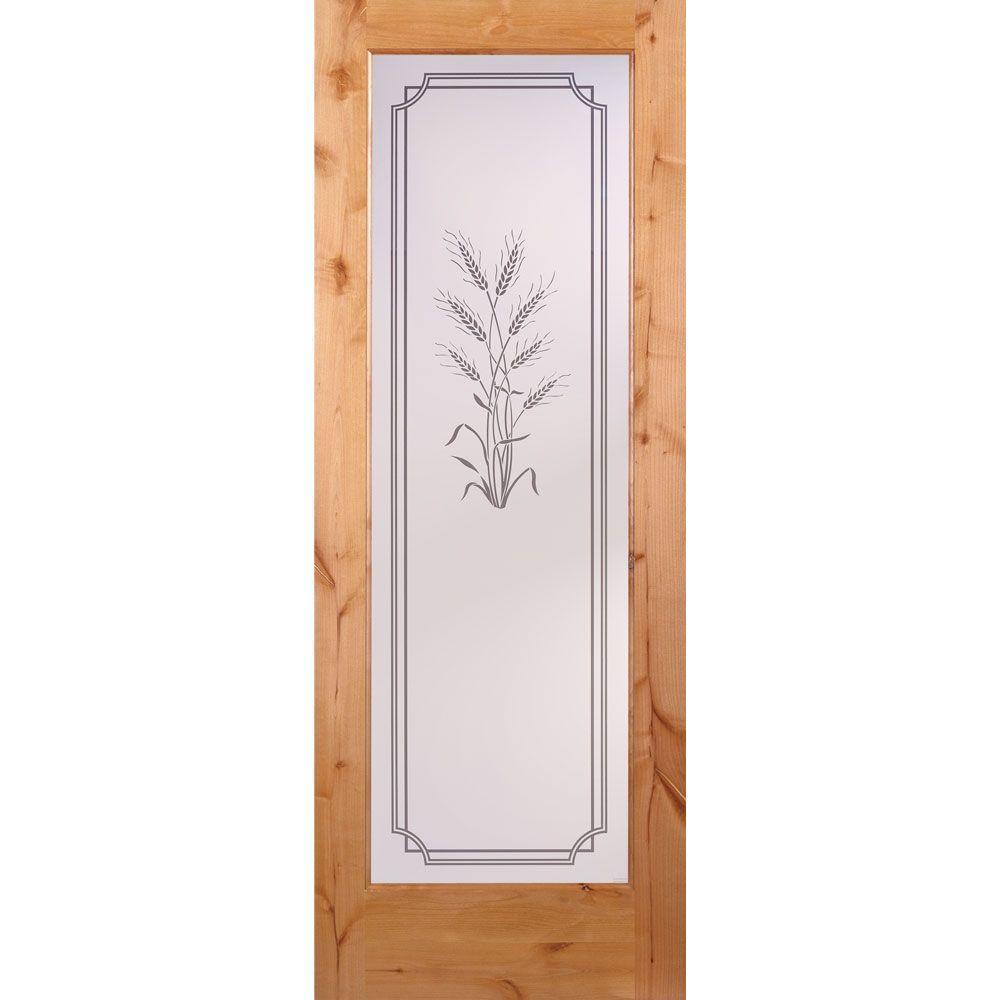 Feather River Doors 36 in. x 80 in. 1 Lite Unfinished Knotty Alder Harvest Woodgrain Interior Door Slab