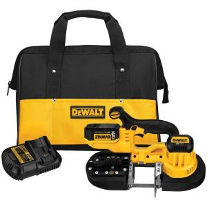 Click here to buy Dewalt 20-Volt MAX Lithium-Ion Cordless Band Saw Kit with Battery 5Ah, Charger and Contractor Bag by DEWALT.