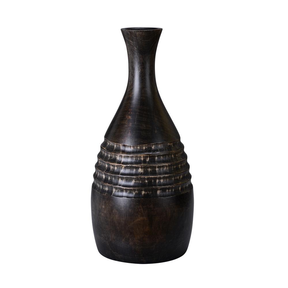15 in. Black Decorative Handmade Mango Wood Bottle Vase