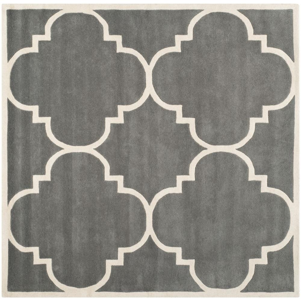 Safavieh Chatham Dark Grey/Ivory 8 ft. 9 in. x 8 ft. 9 in. Square Area Rug
