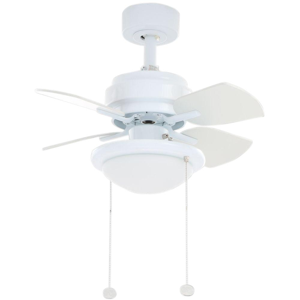 Hampton Bay Metarie 24 in. Indoor White Ceiling Fan with Light Kit ...