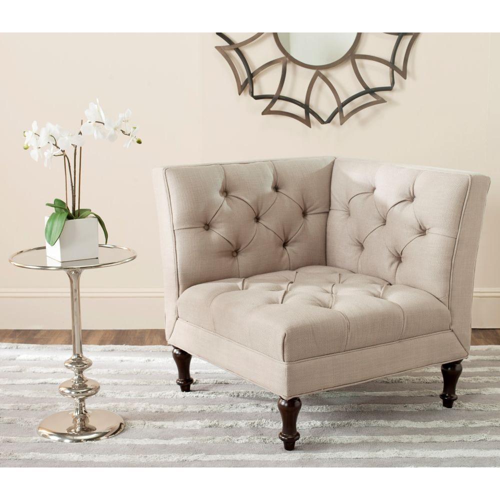 Safavieh Jack Antique Gold/Espresso Linen/Polyester Side Chair