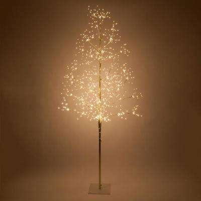 7 ft. Gold Lighted Tree with 930 Warm White LED Fairy Lights