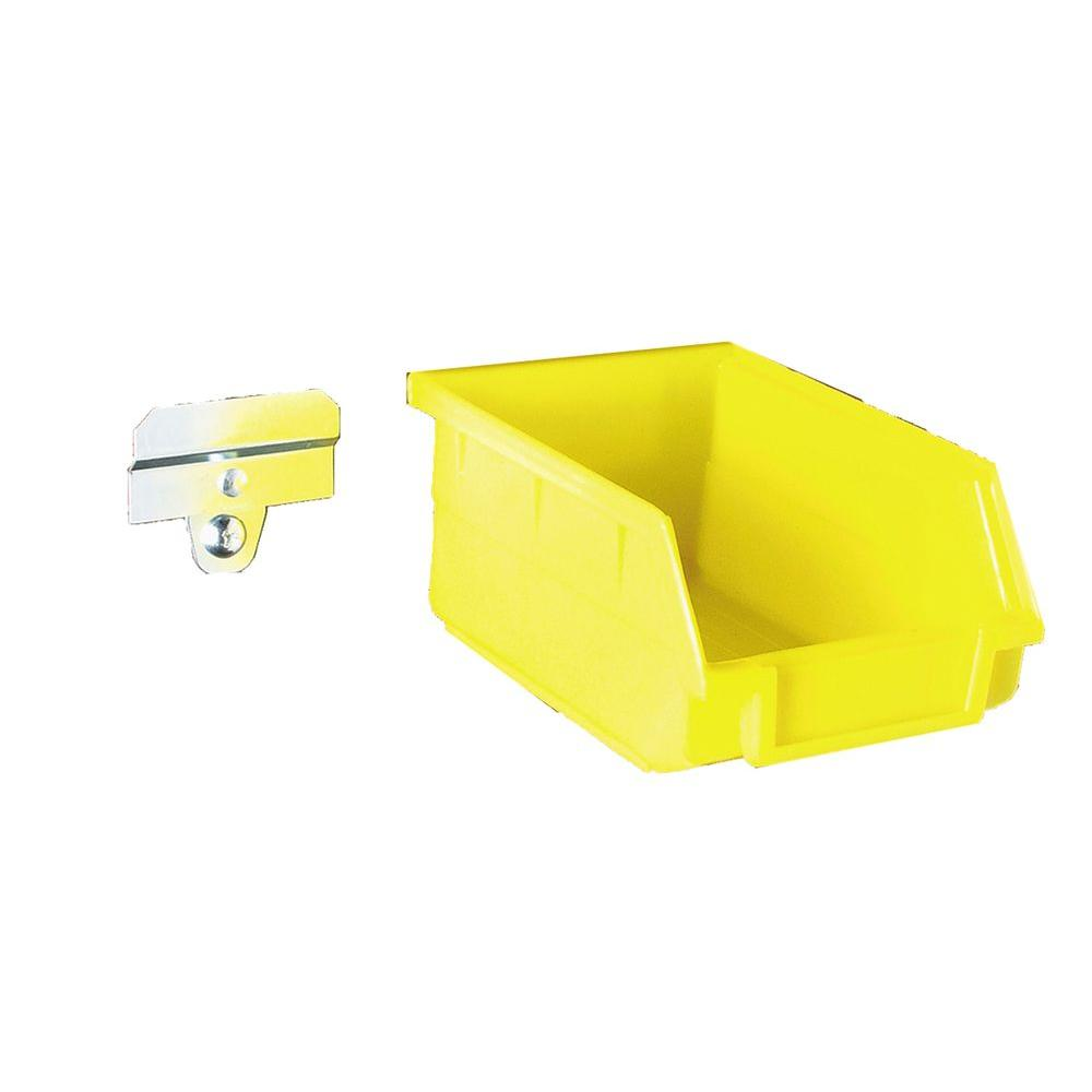 Triton Products Locbin 5 3 8 In L X 4 1 8 In W X 3 In H Yellow Polypropylene Hanging Bin Binclip Kits 24 Ct Bk210 The Home Depot