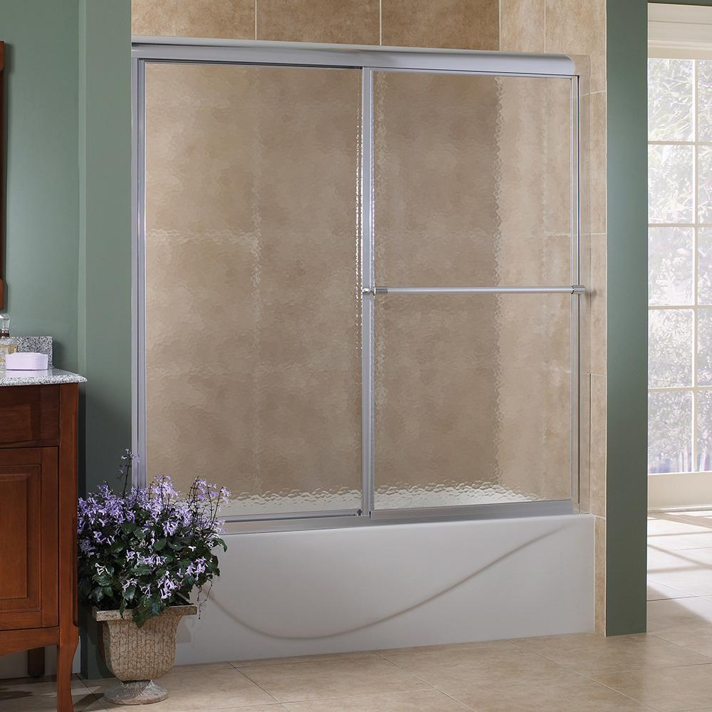 Foremost Tides 56 in. to 60 in. W x 58 in. H Framed Sliding Tub Door in Silver with Obscure Glass