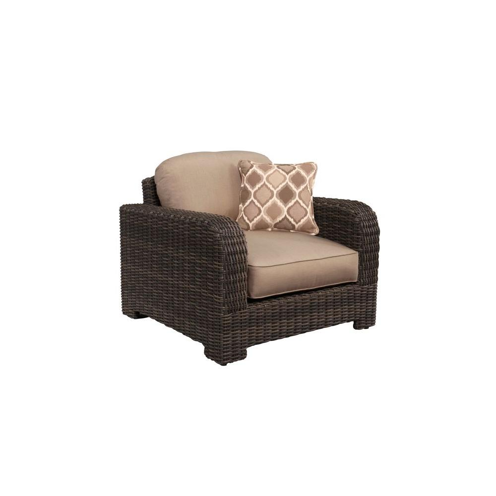 Northshore Patio Lounge Chair with Sparrow Cushions and Empire Stonehenge Throw