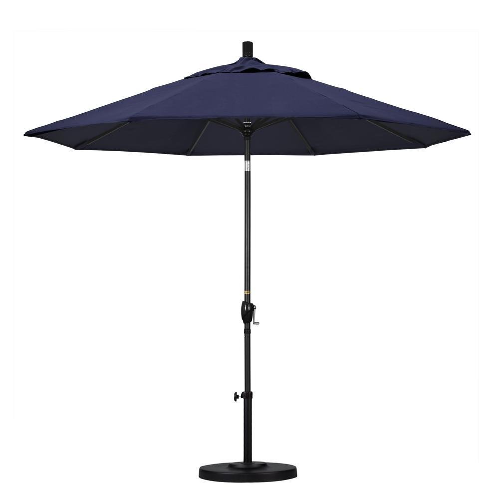 9 ft. Black Aluminum Pole Market Aluminum Ribs Push Tilt Crank Lift Patio Umbrella in Navy Sunbrella
