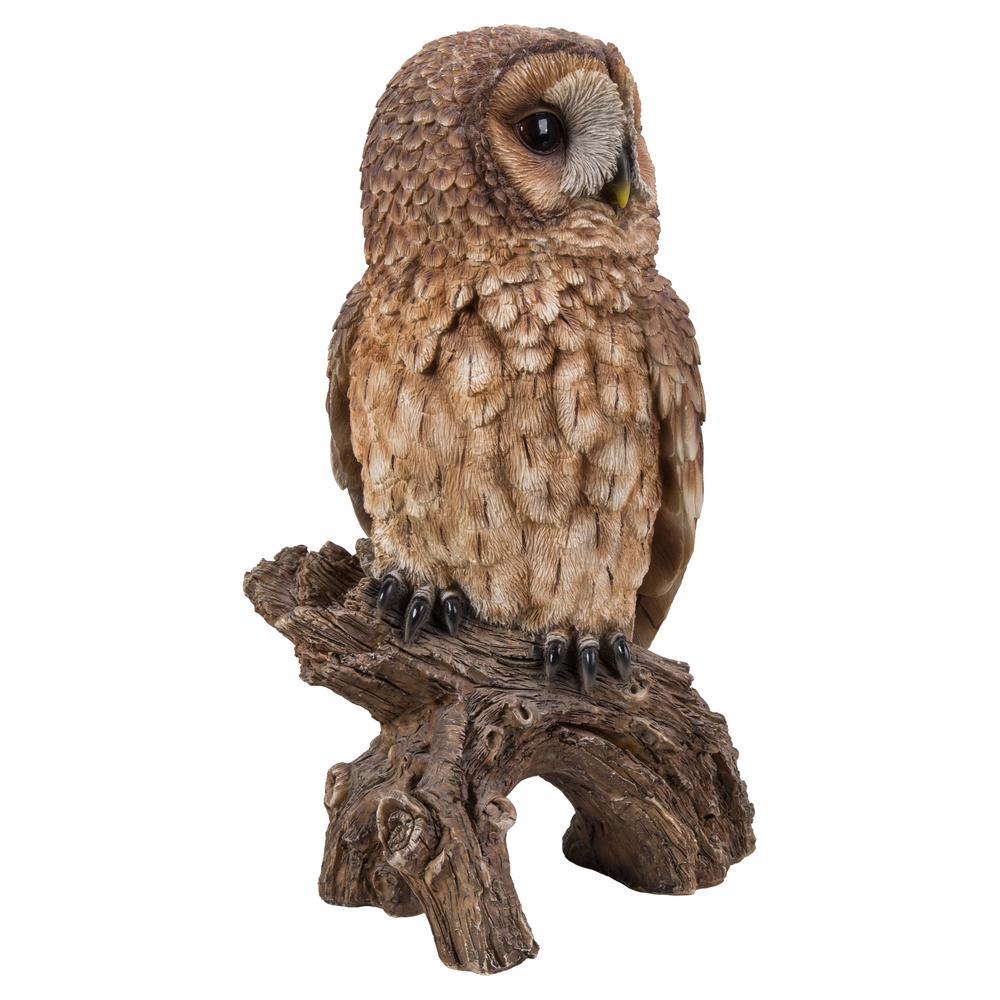 Hi-Line Gift Brown Owl on Stump Garden Statue-87717-C - The Home Depot