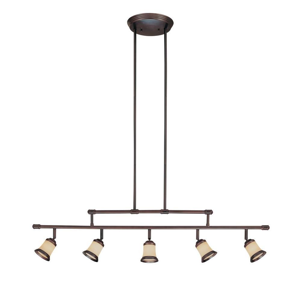 5-Light Antique Bronze Adjustable Height Track Lighting Fixture with Multi-Directional Spotlights