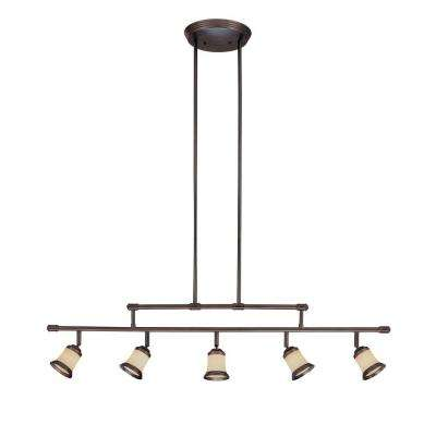 5-Light Antique Bronze Adjustable Height Track Lighting Fixture with Multi-Directional Spotlights