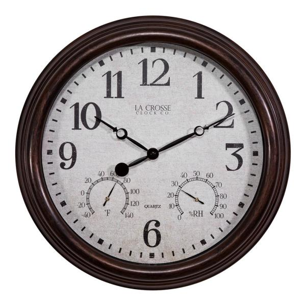 15 in. Brown Thermometer and Hygrometer Indoor/Outdoor Quartz Wall Clock