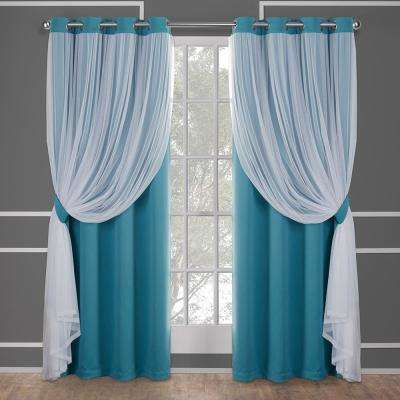 Catarina Turquoise Layered Solid Blackout and Sheer Grommet Top Window Curtain