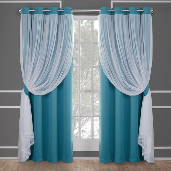 Catarina 52 in. W x 84 in. L Layered Sheer Blackout Grommet Top Curtain Panel in Turquoise (2 Panels)