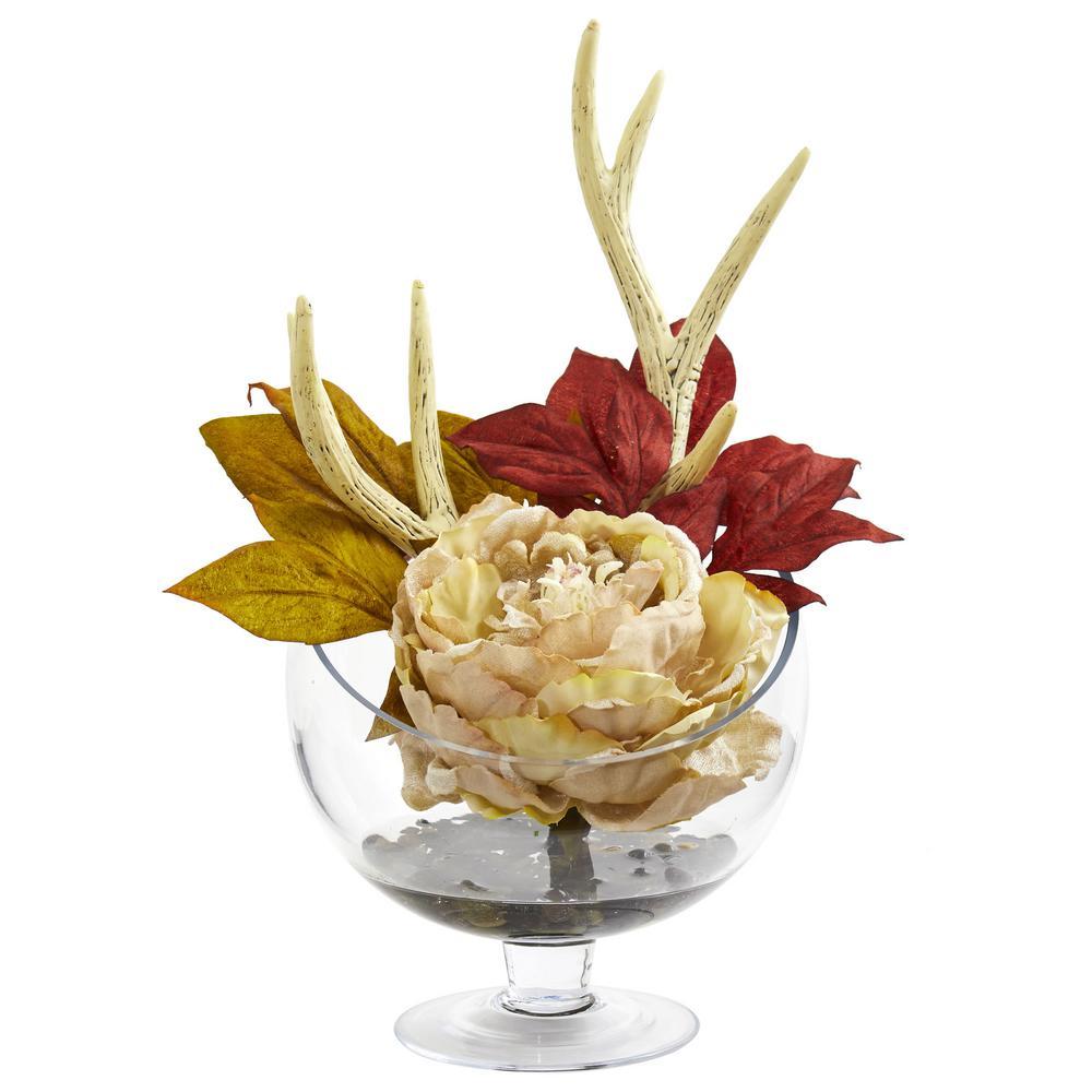 Indoor Peony Artificial Arrangement in Pedestal Glass Vase