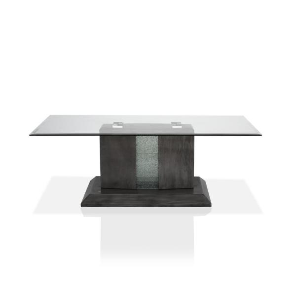 Ruban 50 in. Gray/Clear Large Rectangle Glass Coffee Table with Pedestal Base