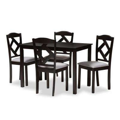 Ruth 5-Piece Espresso Brown and Gray Dining Set