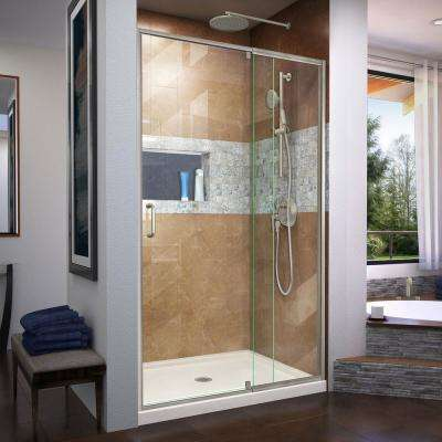 Flex 48 in. x 72 in. Semi-Frameless Pivot Shower Door in Brushed Nickel Finish with 48 in. x 36 in. Base in Biscuit