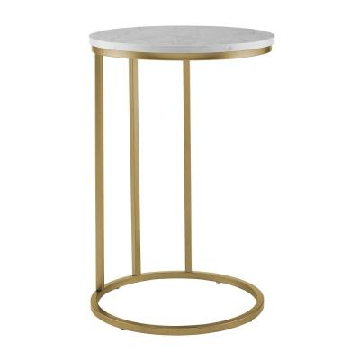 16 in. White Marble Top Gold Base Round C Table