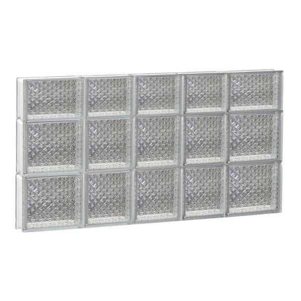 32.75 in. x 21.25 in. x 3.125 in. Frameless Diamond Pattern Non-Vented Glass Block Window