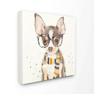"17 in. x 17 in. ""Hipster Chihuahua Puppy With Glasses"" by Artist Main Line Art & Design Canvas Wall Art"