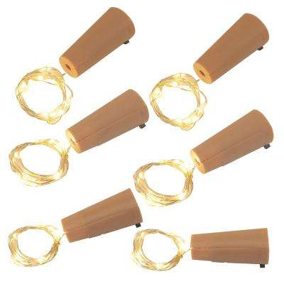 Warm White Wine Cork with Battery Operated Submersible Mini String Lights (6-Count)