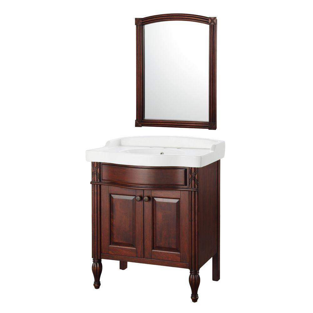 Home Decorators Collection Odienne 32 in. W x 22 in. D Bath Vanity in Walnut with Vitreous China Vanity Top in White and Mirror