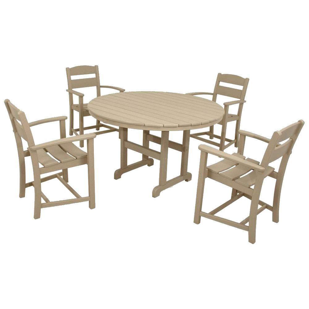 Ivy Terrace Classics Sand 5-Piece Plastic Outdoor Patio Dining Set