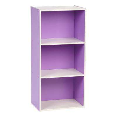 Purple 3-Tier Wood Storage Shelf