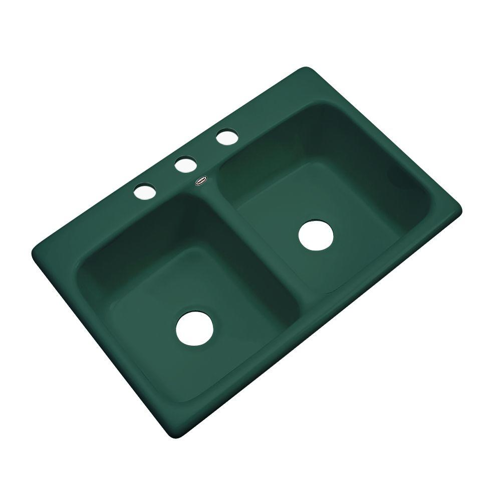 Thermocast Hartford Drop-In Acrylic 33 in. 3-Hole Double Bowl Kitchen Sink in Rain Forest
