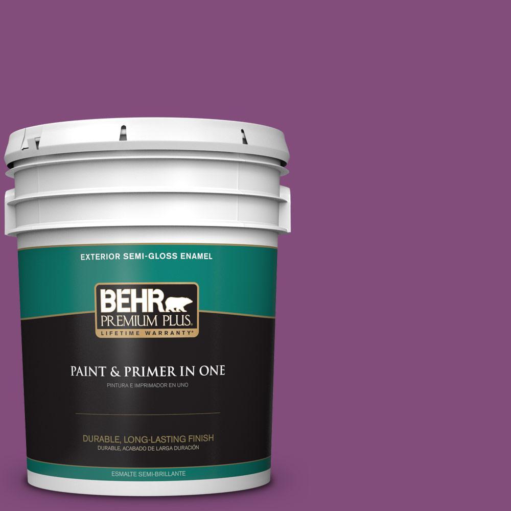 BEHR Premium Plus 5-gal. #T15-12 Graphic Grape Semi-Gloss Enamel Exterior Paint, Purples/Lavenders