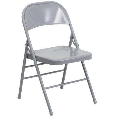 Gray Metal Utility Chair