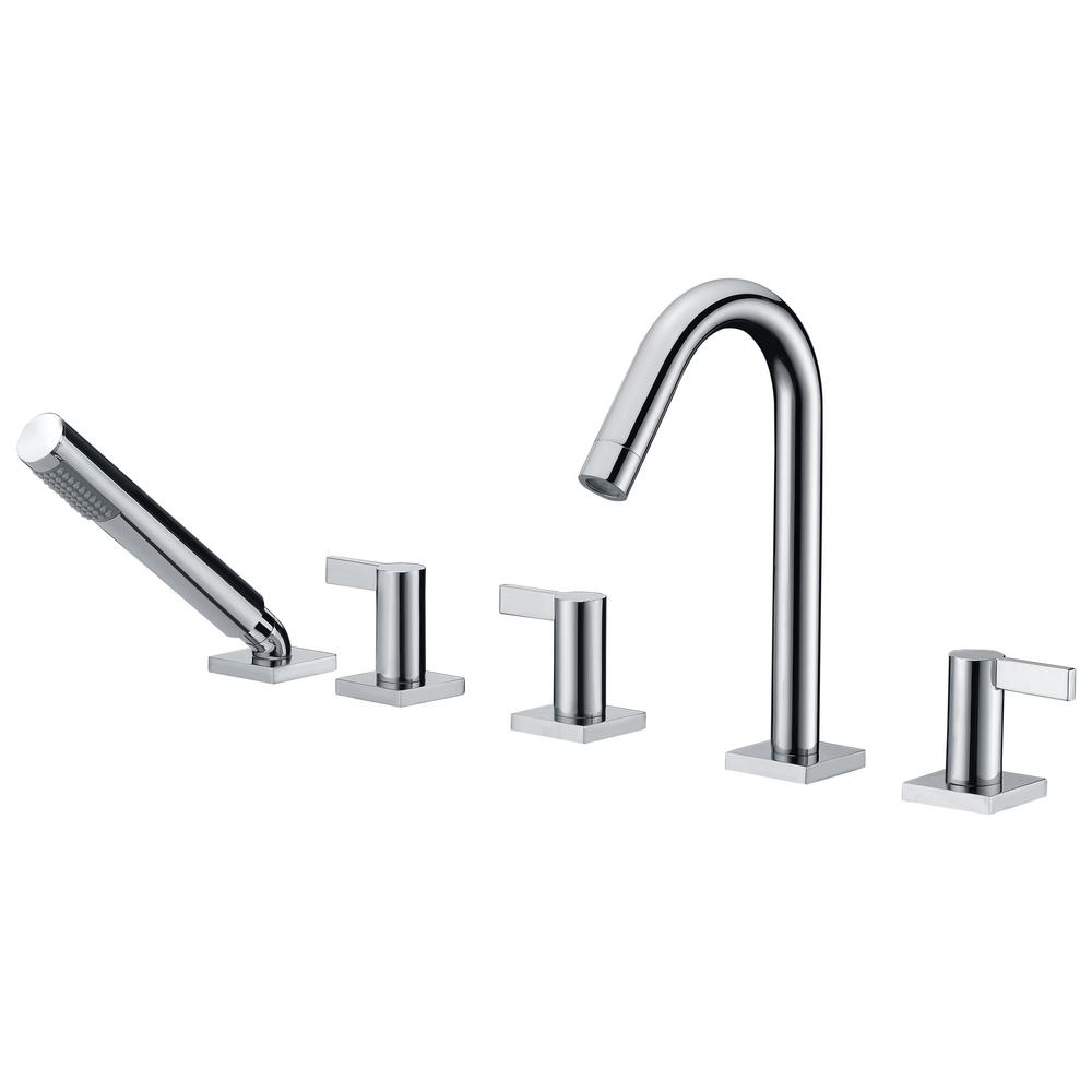 ANZZI Snow Series 3 Handle Deck Mount Roman Tub Faucet With Handheld Sprayer  In