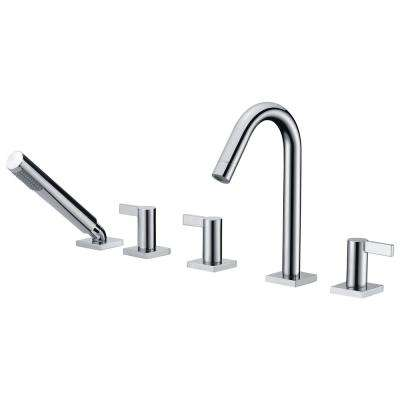 Snow Series 3-Handle Deck-Mount Roman Tub Faucet with Handheld Sprayer in Polished Chrome