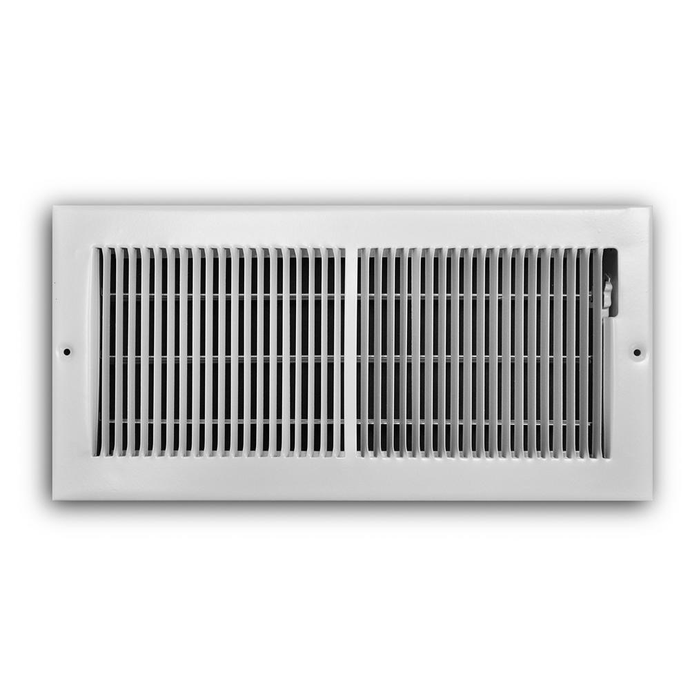 14 in. x 6 in. 2-Way Steel Baseboard Register in White