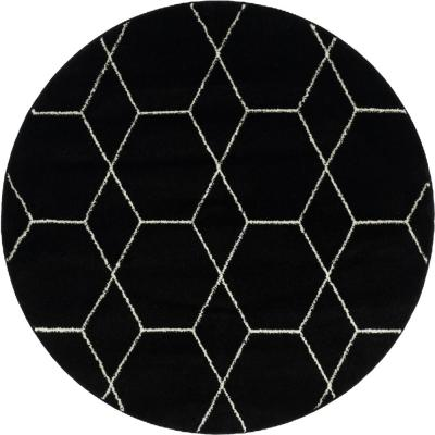 Trellis Frieze Black/Ivory 5 ft. x 5 ft. Round Geometric Area Rug