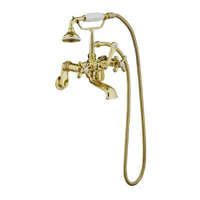 3-Handle Claw Foot Tub Faucet with Elephant Spout and Hand Shower in Polished Brass
