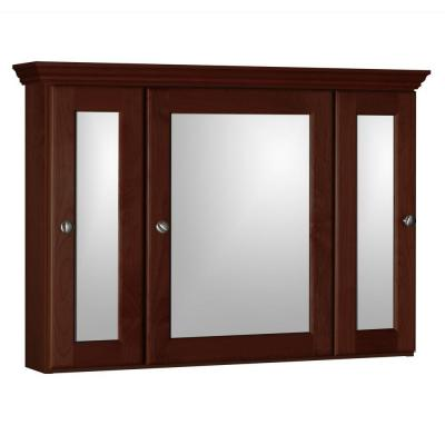 Ultraline 36 in. W x 27 in. H x 6-1/2 in. D Framed Tri-View Surface-Mount Bathroom Medicine Cabinet in Dark Alder