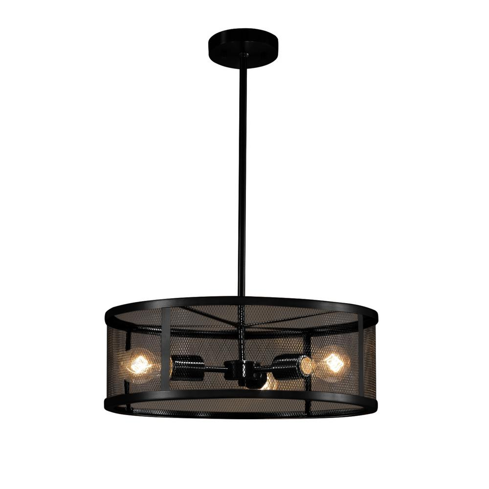Wire Mesh 3 Light Matte Black Pendant With Shade