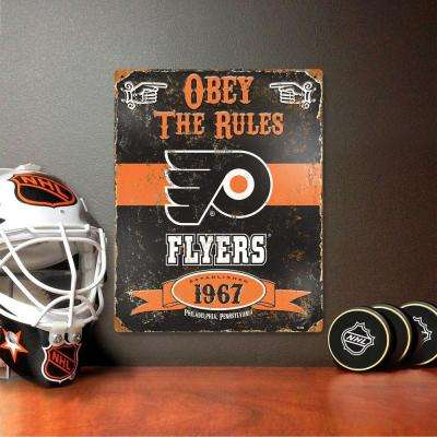 14.5 in. H x 11.5 in. D Heavy Duty Steel Philadelphia Flyers Embossed Metal Sign Wall Art