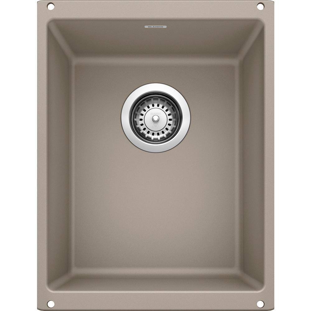PRECIS Undermount Granite Composite 13.75 in. Single Bowl Bar Sink in Truffle