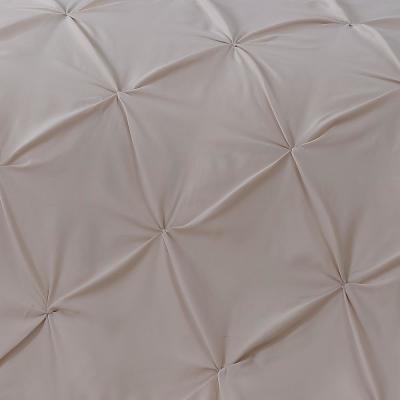 Ella Pinch Pleat Taupe Queen Reversible Comforter with Bedskirt