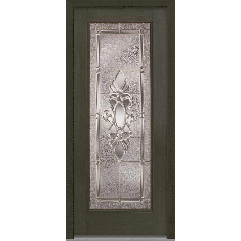 Mmi Door 36 In X 80 In Heirloom Master Decorative Glass Full Lite Finished Mahogany Fiberglass