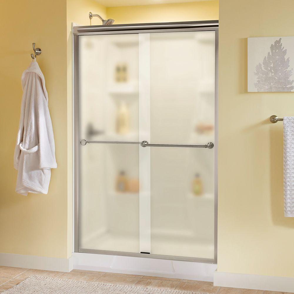 Delta Mandara 48 in. x 70 in. Semi-Frameless Sliding Shower Door in Nickel with Niebla Glass