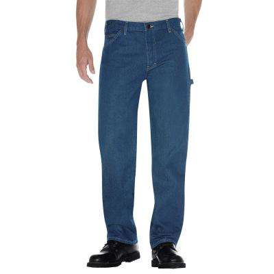 Men's 32 in. x 32 in. Stonewashed Indigo Blue Relaxed Fit Carpenter Jean