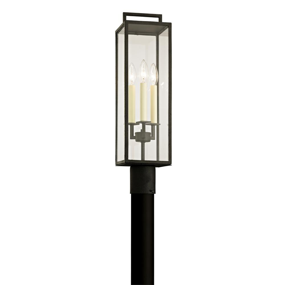 Beckham 3-Light Forged Iron 23.75 in. H Outdoor Post Light with