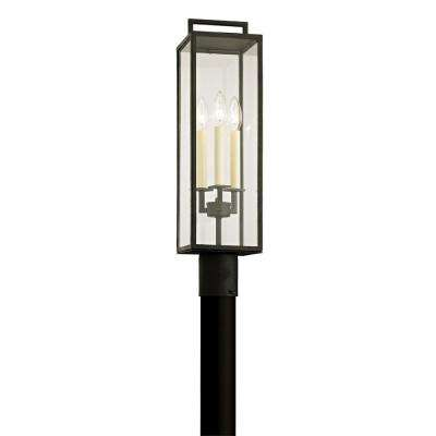 Beckham 3-Light Forged Iron 23.75 in. H Outdoor Post Light with Clear Glass