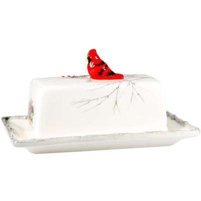 "8"" L Cardinal Holly 2pc Butter Dish"