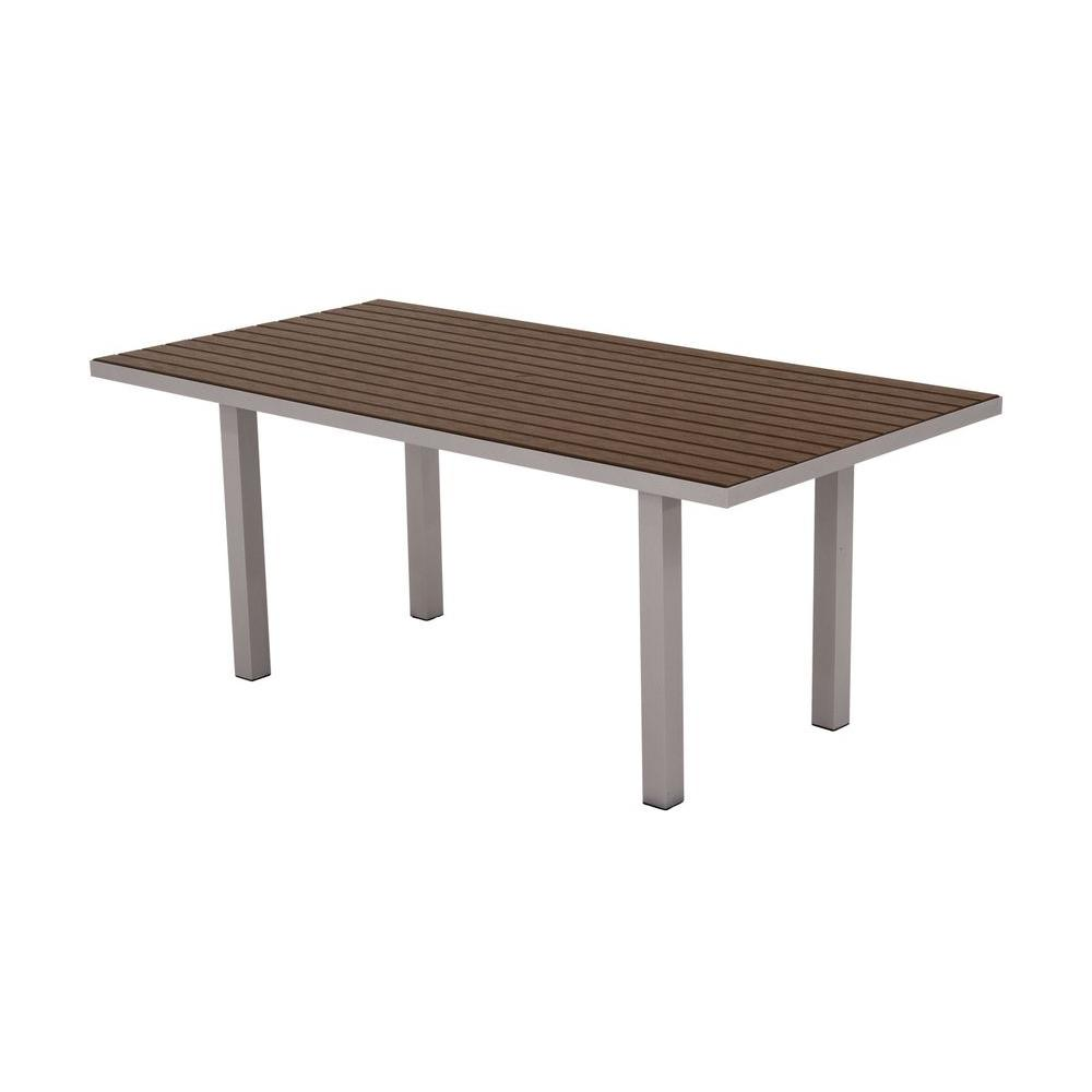Polywood Euro Textured Silver 36 in. x 72 in. Patio Dinin...