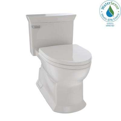 Eco Soiree 1-Piece 1.28 GPF Single Flush Elongated Skirted Toilet with CeFiONtect in Sedona Beige