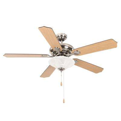 Whitney 52 in. Satin Nickel Ceiling Fan with 1-Light